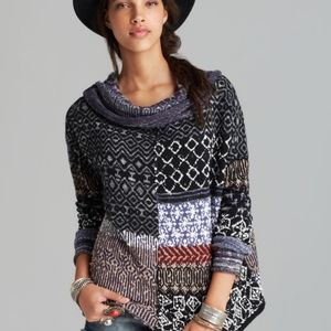 Free People Americano Patch cowl neck sweater